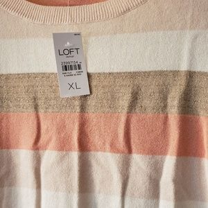 Ann Taylor Loft Multi Sweater Cream Crewneck XL